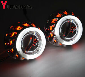 2 0 Inch Bi Xenon Hid Projector Lens With Fire Wheel Drl Dual Angel Eyes Shrouds