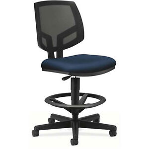 Volt Series Task Stool Mesh Back Adjustable Height Footring Navy Armless