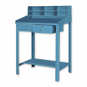 Open Steel Shop Desk With Two Drawers 36 w X 30 d X 43 h Tan Lot Of 1