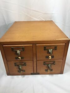 Vintage 4 Drawer Card Index Catalog Table Top File Cabinet Gaylord Bros