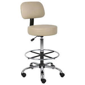 Medical drafting Stool With Back Cushion Footring Caressoft Vinyl Beige Lot