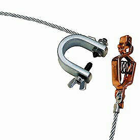 Alligator Clip C clamp W 5ft 7x19 Insulated Stranded Flex Steel Cable