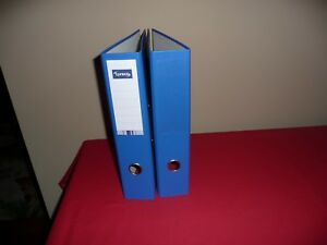 Lyreco Blue Premium Linen Textured A4 2 ring Binder 3 inch Capacity qty 2