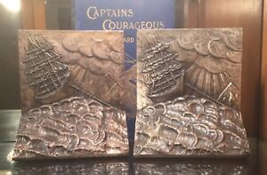Vintage Art Deco Maritime Bookends Circa 1927 Nautical Stormy Waters