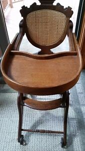 Vintage Antique Wood Oak Child Or Doll High Chair Rocker Fold Up And Down
