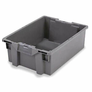 Orbis Stack n nest Pallet Container 23 5 8 X 15 3 4 X 8 1 2 Gray Lot Of 5