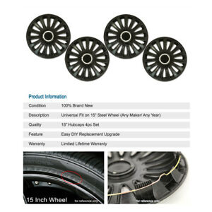 4pcs R15 Inch Rim Black Wheels Cover Hubcap For Oldsmobile Plymouth Saab Saturn