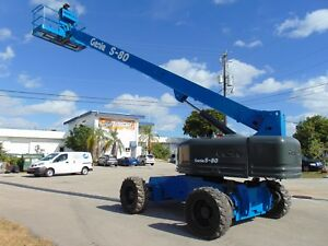 2008 Genie S 80 Telescopic Boom Man Lift Deutz Diesel 4x4 Extendable Axles