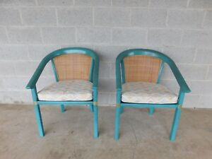 Vintage Hollywood Regency James Mont Style Barrel Back Club Chairs A Pair
