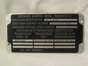 Vintage Container Shipping Military U s Govt Metal Id Tag Emblem Badge Part