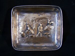 Antique Vtg German Silver 800 Repousse Coin Pin Trinket Tray Dish Figures Scene