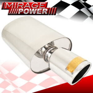 Universal 4 Tip 2 5 Inlet Oval Canister Muffler Exhaust T304 Stainless Steel