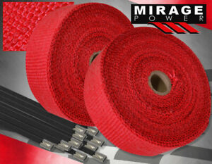 30 Feet Exhaust Header Forced Induction Piping Heat Wrap Cover Steel Ties Red