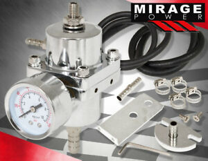 Jdm Universal Silver Fuel Pressure Regulator With Gauge 0 140 Psi Adjustable