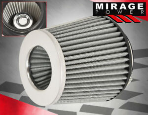 Universal 4 Inlet Mesh Performance Dry Flow Cone Cold Air Intake Filter Silver