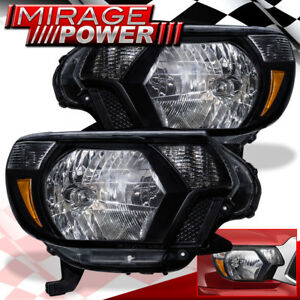 For 2012 2013 2014 2015 Toyota Tacoma Pickup Black Headlights Amber Reflector