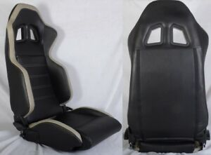 2 X R1 Style Black Gray Racing Seats Reclinable Slider Fit For Ford Mustang
