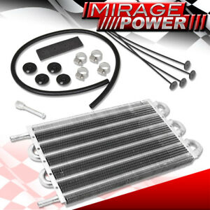Universal Oil Transmission Power Steering Cooler Cooling Kit Aluminum Silver
