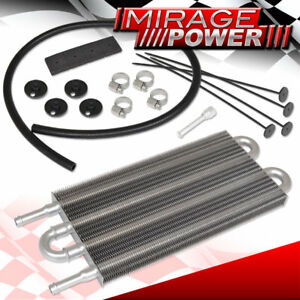 Universal Oil Transmission Power Steering Cooler Cooling Kit Aluminum 4 Row Core
