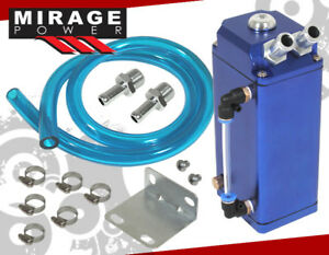 Blue Dual Nozzle 7 Square Oil Catch Can Reservoir Tank With Drain Plug Bmw