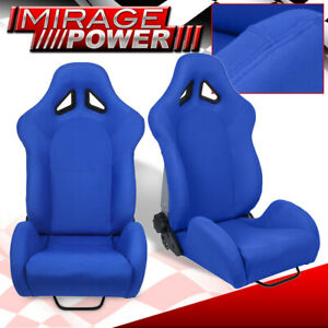 For Jeep Dodge Diy Racing Side Bolster Chair Bucket Seats Blue Slider Mount