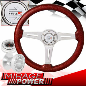 Metallic Red Steering Wheel Slim Silver Quick Release Hub For 01 05 Eclipse