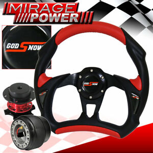 For 88 91 Honda Crx Pvc Black Red Battlestyle Steering Wheel Red Quick Release