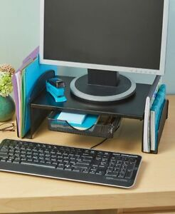 Computer Monitor Organizer Space Saving Desk Top With Side Shelves And Drawer