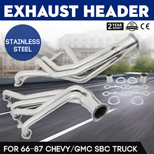 Pop Stainless Steel Exhaust Header 66 95 Chevy gmc Sbc Pickup Truck Suv Car