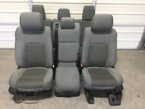 1999 2016 Ford F250 F350 F450 Super Duty Front Rear Seats Gray Cloth
