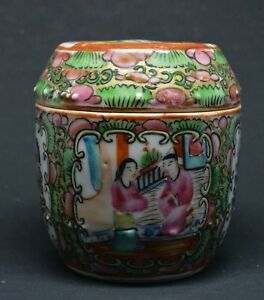 Antique Chinese Export Famille Rose Box 3 5 Inches Tall