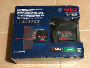 New Bosch 165 Ft Self Leveling Cross Line Laser Level Plumb Points Gcl 2 160 S