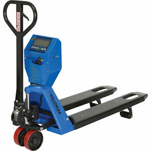 Low Profile Scale Pallet Jack Truck 5000 Lb Capacity 22 X 48 Forks Lot Of 1