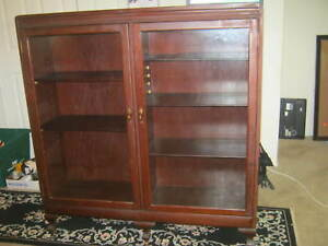 Vintage Six Shelf Glass Cabinet Or Bookcase 13x 45 X50
