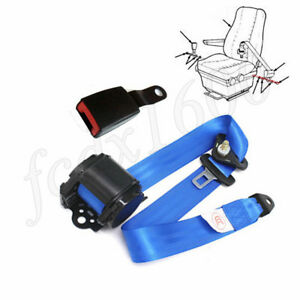 Automatic Retractable 3point Car Seat Belt Safety Buckle Plate Blue Strap Truck