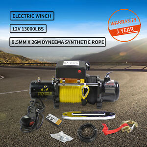 13000lbs 12v Electric Recovery Winch Truck Suv Wireless Remote Truck Tow Trailer