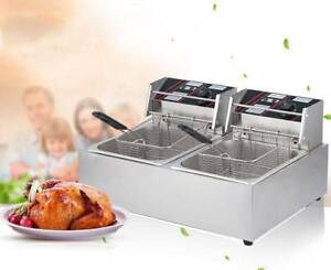 Electric Deep Fryer Dual Tank Food Frying Cooking Machine Commercial 12l 5kw