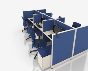 Office Cubicles System Workstation For Telemarketing 4 Feet X 4 Feet In Set Of 6