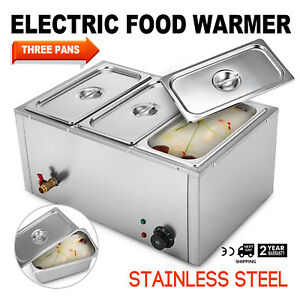 3 pan Food Warmer Steam Table Steamer Hot Well 3 Sections Kitchen Appliance