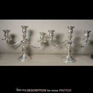 Antique Pair International Sterling Silver 3 Arm Candelabra Prelude Pattern
