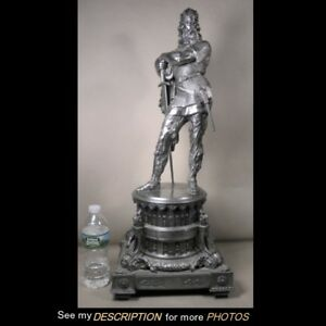 Antique Victorian Large 27 H Spelter White Metal Statue Medieval Warrior King