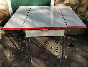 Vintage Porcelain Enamel Kitchen Table Chrome Hairpin Legs Farmhouse Cottage