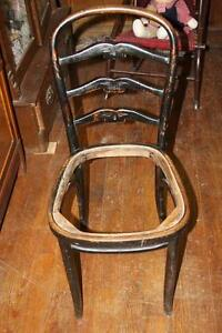 Antique Thonet Steam Bentwood Mazowia Poland Chair Triple Back Hand Carved