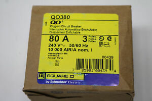 New In Box Square D Qo380 3 Pole 80 Amp 240v 3p 80a Plug on Circuit Breaker