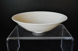 Late Qing Dynasty Chinese Monochrome White Glaze Porcelain Bowl W Dragon