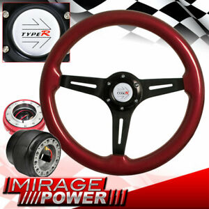 Red Wood Black Center Deep Dish Steering Wheel Quick Release For 90 93 Accord