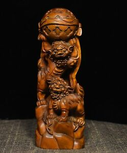 7 Chinese Boxwood Wood Carved 2 Lions Dance Sphere Foo Fu Dog Beast Sculpture