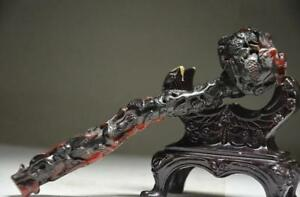 Collectible Chinese Ox Horn Hand Carved Ruyi Statue