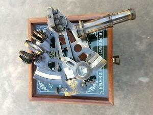 Brass Handmade Nautical Antique Working German Marine Sextant W Wooden Box Gift