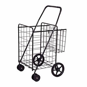 Folding Shopping Cart Jumbo Double Basket For Grocery Laundry Book By Goplus